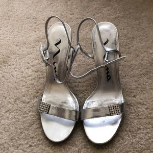 Silver Evening Heel with Rhinestone Embellishment